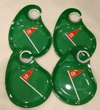 2005 Boston Warehouse SET OF 4 Green Party Plates Trays Golf 19th HOLE