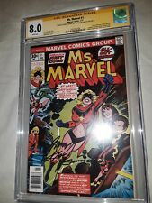 2x Signed Ms.Marvel #1 (Carol Danvers) CGC SS 8.0 Gerry Conway Joe Sinnott 1977