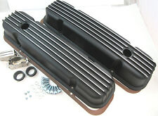 Pontiac V8 Black Aluminum Finned Valve Covers 326 350 455 1959-1981 W/ Gaskets