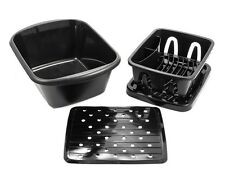 RV Camco 43518 Galley Sink Black 3-piece Kit with Drainer, Dish Pan and Mat