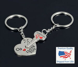 Hot I LOVE YOU Lovers Heart Key Keychain Keyring Set Valentine's Day Couple Gift