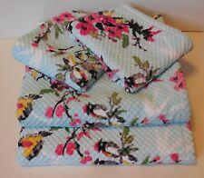 Peri Oriental Asian Birds 4Pc Bath Towel Set Velour Floral Aqua Pink Bamboo Leaf