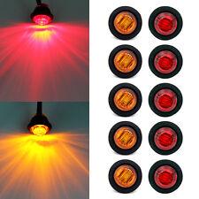 """5X Red + 5X Amber 12V Mini 3/4"""" Side 3 LED Marker Trailer Boat Bullet Light"""