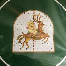 NEW Christmas Stove Burner Covers Bear Carousel Horse Set of 4 Green Vintage