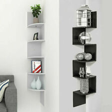 5 TIER BLACK & WHITE FLOATING WALL SHELVES CORNER SHELF STORAGE DISPLAY BOOKCASE