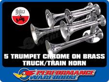 CHROME ON BRASS 5 TRUMPET TRUCK/TRAIN AIR HORN PEDESTAL MOUNT 12V 24V
