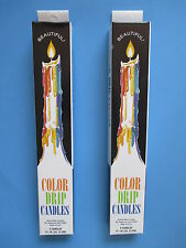 2 Boxes Color Drip Candles set of 2. Made in USA - Fast Shipping