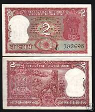 INDIA 2 RUPEES P53 F 1977 TIGER IGP C LETTER UNC WORLD MONEY BILL BANK NOTE