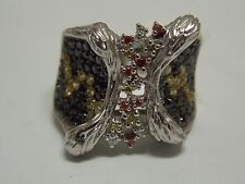 Fashion Ring with Multi Color CZ & Black Onyx on Silver 925