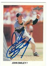Autographed 1990 Leaf John Smiley Pittsburgh Pirates Card #328 w/ Show Ticket