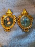 """2-Ornate gold gilt miniature small 4.5"""" PICTURE/FRAMES -1950's Mona Lisa,Blueboy"""