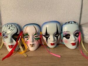 Vintage Mardi Gras Porcelain MultiColor Face Masks Wall Hanging LOT OF 4 LOOOOK