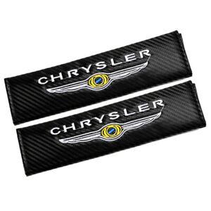 Carbon Fiber Car Seat Belt Cover Shoulder Cushion Pads Embroidered For CHRYSLER