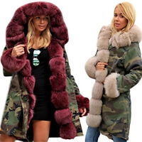 Womens Thicken Faux Fur Winter Jacket Parka Hooded Coat Winter Warm Overcoat
