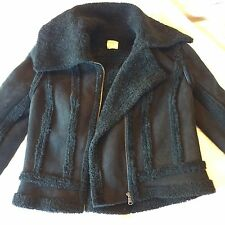 NEW L'Agence Leather Suede Shearling Fur Motorcycle Jacket Coat $1695