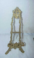 VINTAGE ORNATE BRASS PLATE PICTURE HOLDER STAND 12 IN