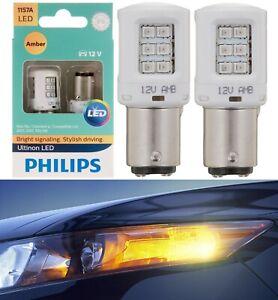 Philips Ultinon LED Light 1157 Amber Orange Two Bulbs Rear Turn Signal Replace