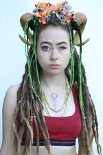 Natural Brown Pom Pom Green Dreaded Rams Horn Festival Headdress Cyber Trance