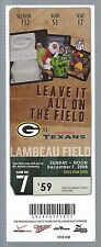 2008 NFL HOUSTON TEXANS @ GREEN BAY PACKERS  FULL UNUSED FOOTBALL TICKET