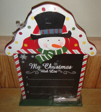 """My Christmas Wish List"" Snowman Chalkboard With Chalk"