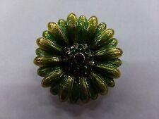 Beautiful Vintage Enamel w/ Green Rhinestones Flower Brooch Signed Monet