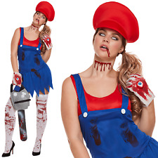 Zombie Red Mario Super Work Woman Plumber Fancy Dress Halloween Costume New