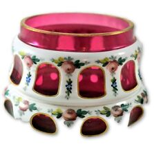 BOHEMIAN CZECH Cased White Glass Cut to Cranberry Bowl