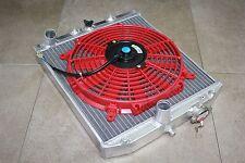 92-00 Honda Civic EG EJ EH EK EM M/T Manual Aluminum 2 Row Radiator B/D +Red Fan