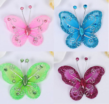 10 Organza, Wire, Glitter Edged 50 mm Butterfly Motifs Crafts, DIY Hair Decor