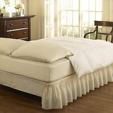 Easy Fit Ruffled Bed Skirt Queen King Size Polyester 65% Cotton 35% Ivory Solid