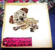 Enamel Crystal Gift Box Bag Nwt Betsey Johnson Panda Brown Gold Brooch Pin