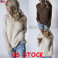 Women Winter Warm Fluffy Fur Sweatshirt Hoodie Jumper Cardigan Tops Pullover US