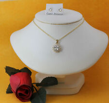"Fun Fashion Gold Tone Halo CZ 18"" Necklace & CZ Stud Earrings Jewelry Set"