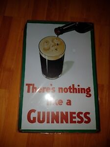 Guinness Smiling Pint Metal Sign Plaque Man Cave Beer Pub Bar Garage Retro Shed