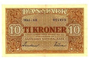 """Denmark ... P-36 ... 10 Kroner ... 1944 ... *XF+* ... Prefix """"AR""""."""