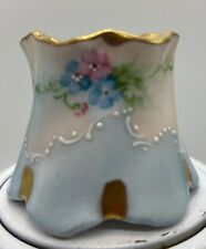 Vintage Antique Hand Painted Hat Pin Holder Pink & Blue Flowers with Gold Top