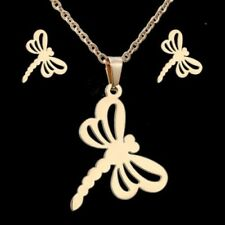 Dragonfly Women Stainless Steel Animal Necklace Earrings Jewellery Set Gift