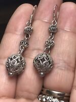vintage filigree Sterling Silver Balls Dangle Earrings