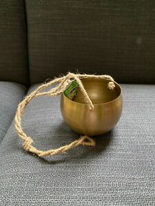 NEW brushed brass effect small hanging planter plant pot with jute string