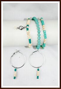 Sommer Schmuckset  Armband Perlen Ohrringe Silber Kokusperlen türkis Geschenk