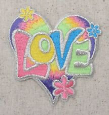 Love Heart - Pastel - Flowers - 60's - Iron on Applique/Embroidered Patch