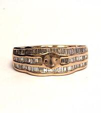 14k rose gold 1ct VS G baguette diamond semi mount engagement ring 4.8g vintage