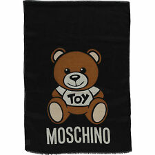 LOVE MOSCHINO Black Wool & Silk Blend Teddy Scarf. RRP. £145