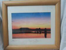 Signed Framed Photo Of Sunset Rhossili Bay Gower peninsula