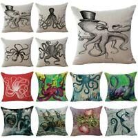 Octopus Inkfish Home Decor Cotton Linen Pillow Case Sofa Throw Cushion Cover