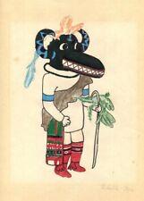 c1950 Original Vintage Drawing Hopi Black Ogre Kachina Katsina Nataska