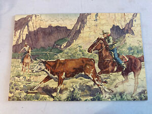 Perfect picture puzzle Perfect Timing 1611 Cowboys Bull 275 Pieces Vtg Complete
