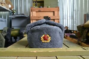 New Artificial fur Authentic Russian Gray army hat ushanka