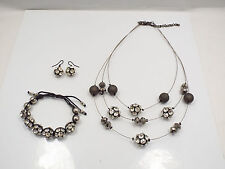 Costume Disco Ball Clear Rhinestone Parure Necklace, Bracelet & Earring Set