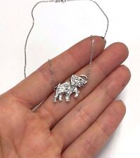 Darling ! Art Deco 14K White Gold White Sapphire Ruby Elephant Pendant Necklace